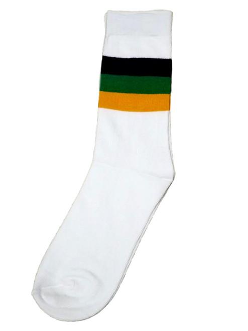 White Purple Green Yellow Mardi Gras Children's Socks One Size Kids