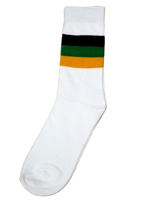 White Purple Green Yellow Mardi Gras Regular Socks One Size Adult