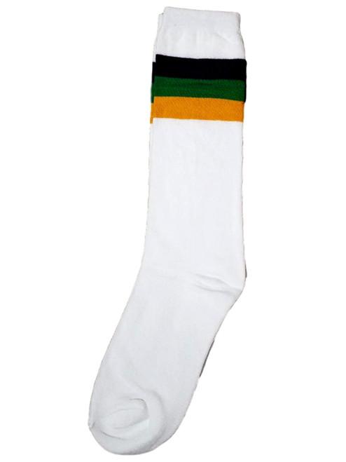 White Purple Green Yellow Mardi Gras Long Socks One Size Adult