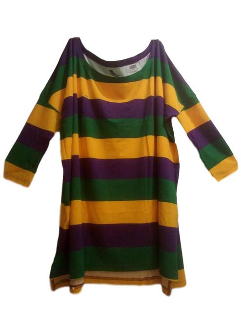 Off Shoulder Oversized XXS /XS Mardi Gras Stripe Purple Green Yellow Womens Shirt