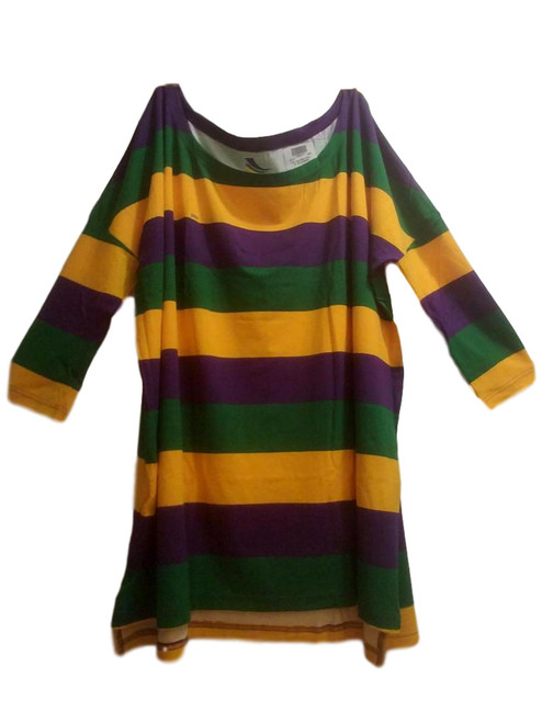 Off Shoulder Oversized S/M Mardi Gras Stripe Purple Green Yellow Womens Shirt