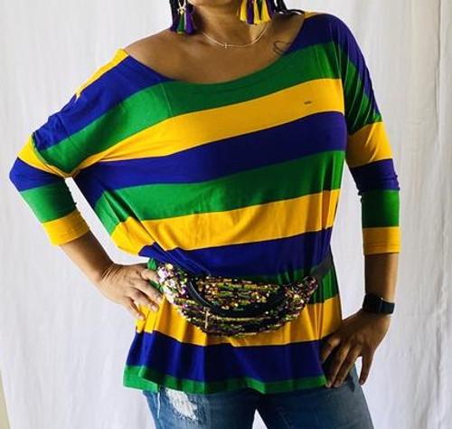 Off Shoulder Oversized L/XL Mardi Gras Stripe Purple Green Yellow Womens Shirt