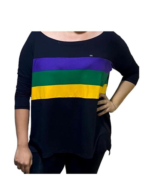 Off Shoulder Oversized L/XL Mardi Gras Black Purple Green Gold Womens Shirt