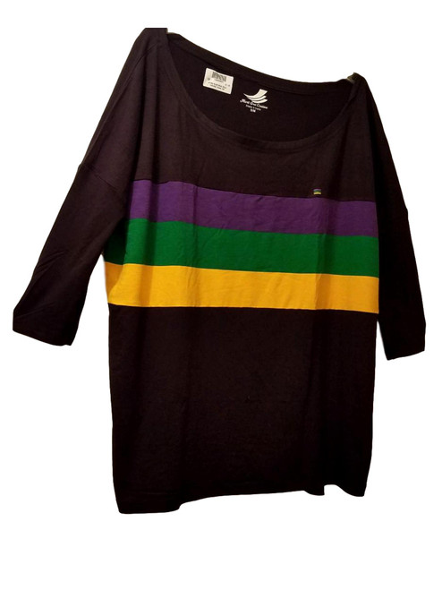 Off Shoulder Oversized S/M Mardi Gras Black Purple Green Gold Womens Shirt