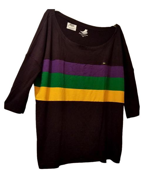 Off Shoulder Oversized XXS/XS Mardi Gras Black Purple Green Gold Womens Shirt