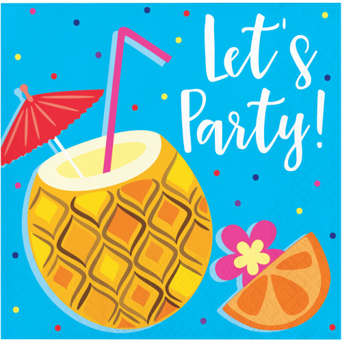 Let's Party Summer Drinks 16 Ct Paper Beverage Napkins Pool Luau