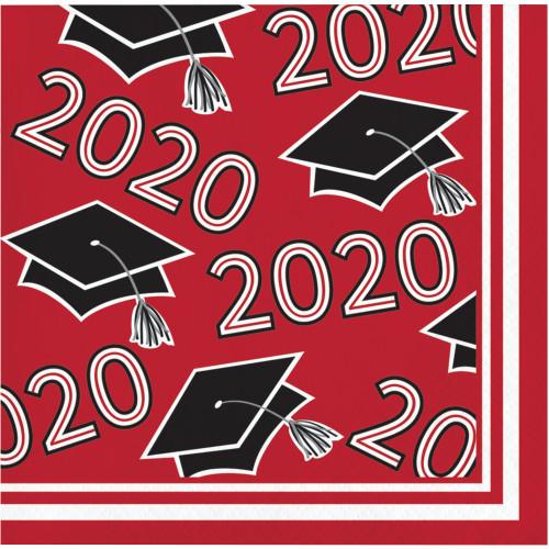 Class of 2020 Red Black 36 ct Value Size Graduation Beverage Napkins