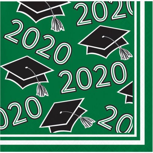 Class of 2020 Green Black 36 ct Value Size Graduation Beverage Napkins