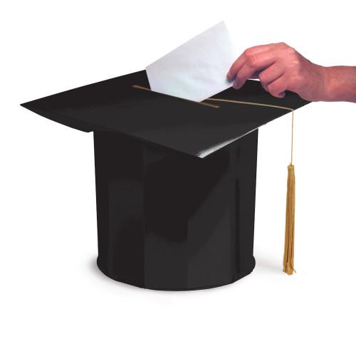 Large Black Mortarboard Cap Card Box Graduate Graduation With Tassel