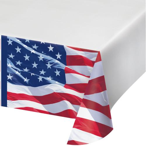 Waving Flag Tablecover Plastic 54 x 102 July 4th Stars Stripes