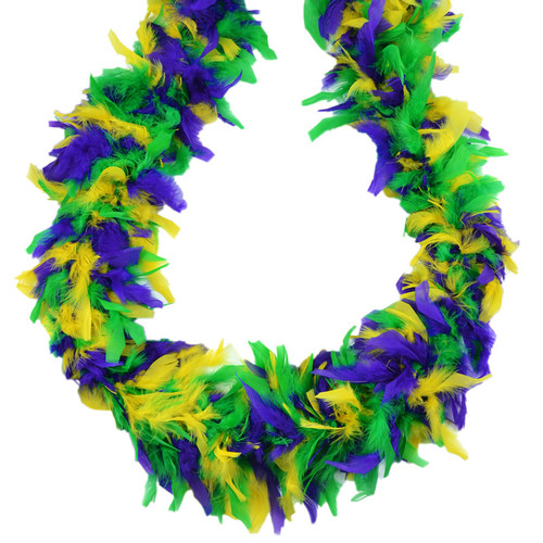 "Mardi Gras Mix Purple Green Yellow 70 Gm 72"" 6 Ft Chandelle Feather Boa"