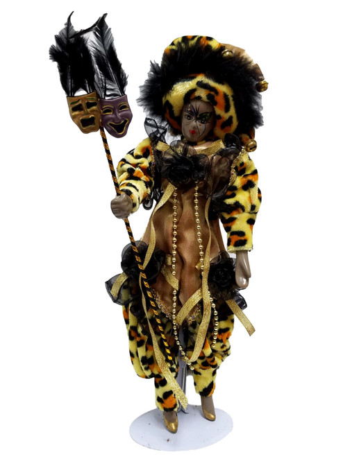 "Black Mardi Gras Jester Doll 14"" Leopard with stand"