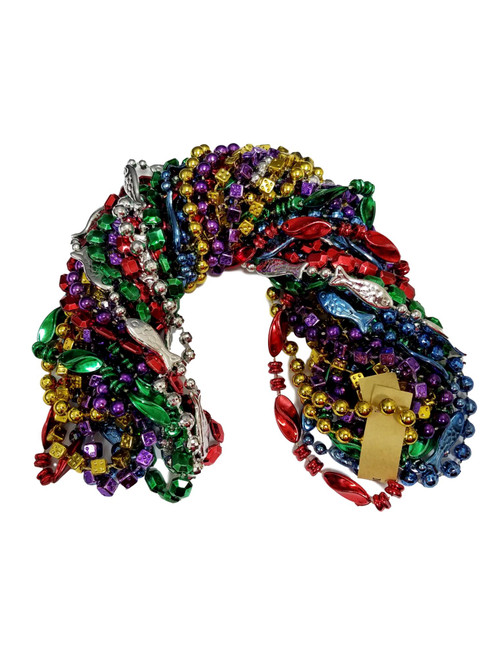 12 Mardi Gras Beads Assorted Shapes Fish Dice Twist  Necklaces 1 dozen