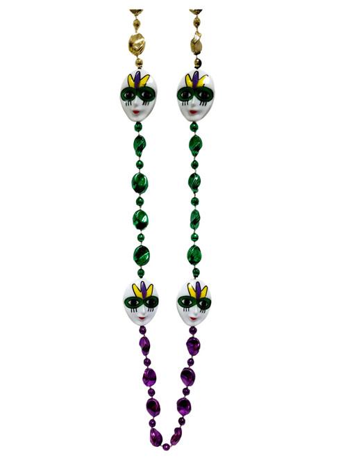 Mask Purple Green Gold Mardi Gras Bead Party Favor