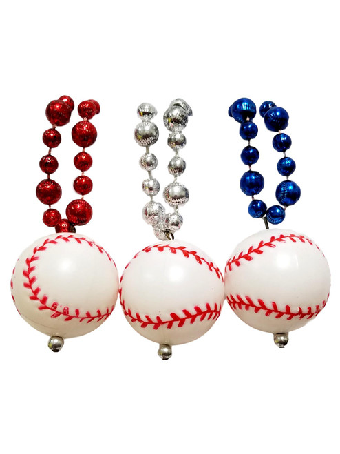 3 Baseball Beads Red Silver and Blue Mardi Gras Bead Party Favor