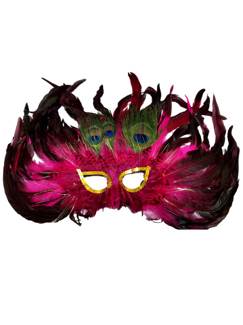Pink Cat Eye 3 Peacock Feather Masquerade Prom Mask
