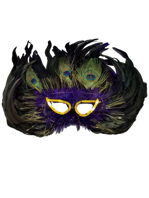 Purple Cat Eye 3 Peacock Feather Masquerade Prom Mask