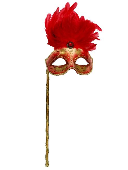 Red Gold Stick Venetian Masquerade Mardi Gras Feather Mask