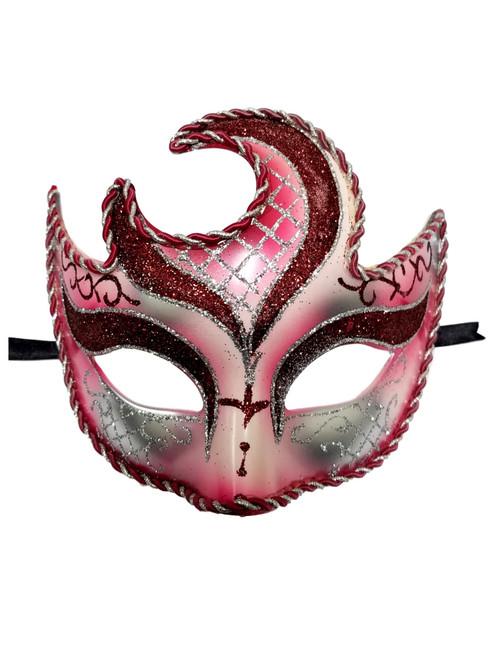 Red Crescent Moon Venetian Mardi Gras Masquerade Mask