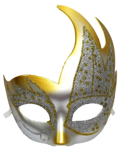 White Gold Glitter Flame Mardi Gras Masquerade Value Carnival Mask
