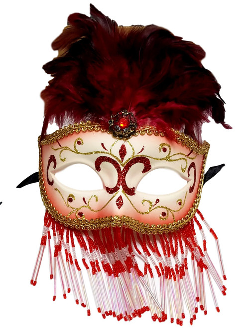 Red White Beaded Feather Masquerade Mardi Gras Mask