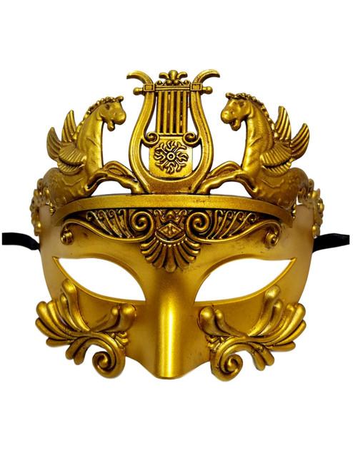 Bright Gold Warrior Greek Pegasus Masquerade Mardi Gras Men's Mask