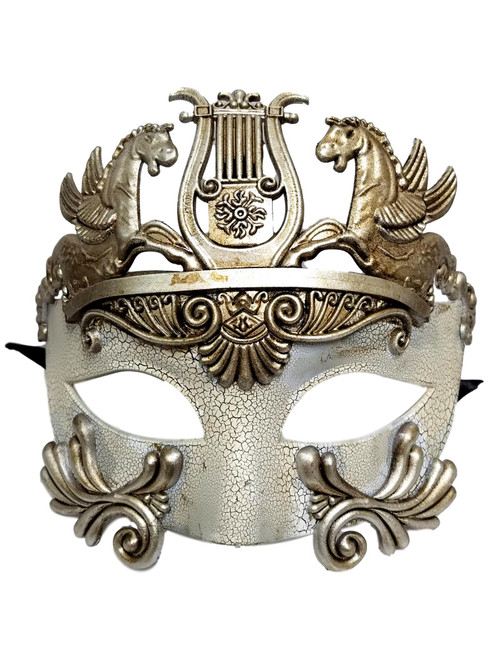 Silver White Warrior Greek Pegasus Masquerade Mardi Gras Men's Mask