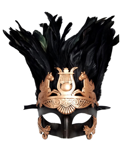 Light Gold Greek Roman Warrior Knight Men Masquerade Feather Mask