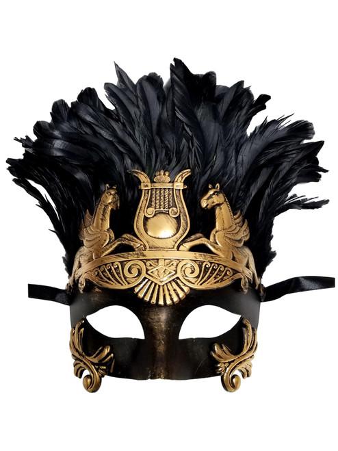Dark Gold Greek Roman Warrior Knight Men Masquerade Feather Mask