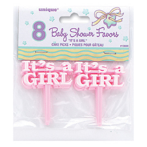 Pink Baby Shower 12 Cake Picks for Cupcakes or Favors It's a Girl