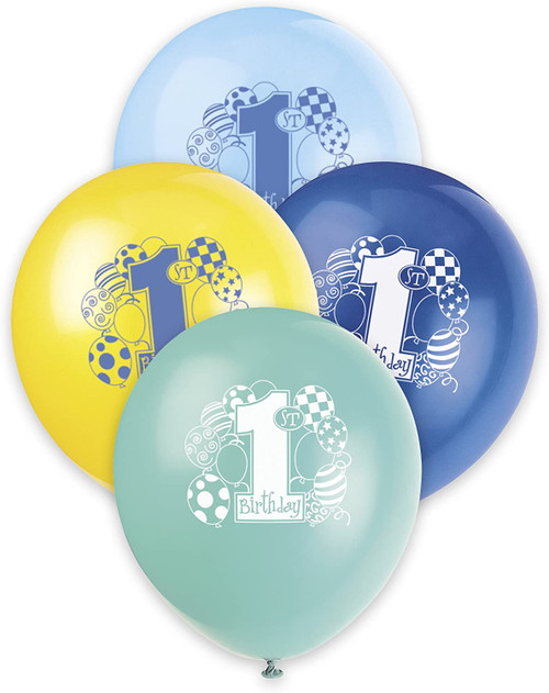 "1st Birthday Blue Green Yellow Boy Assortment 8 pk 12"" Balloons Printed"