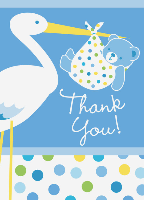 Blue Baby Boy Stork 8 ct Thank You Notes Baby Shower