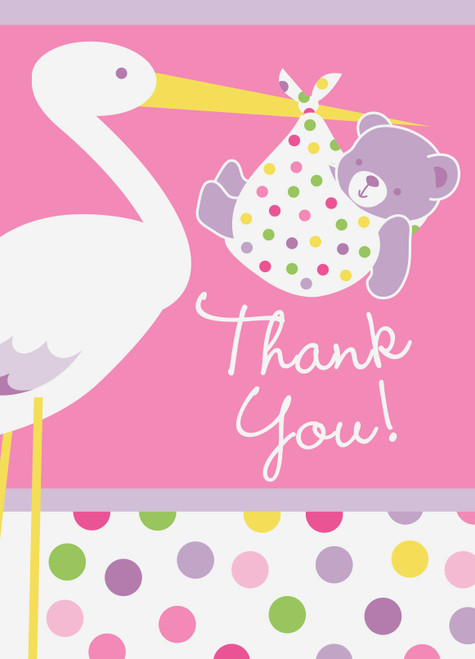 Pink Baby Girl Stork 8 ct Thank You Notes Baby Shower