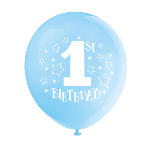 "1st Birthday Blue Boy 8 pk 12"" Balloons Stars Printed"