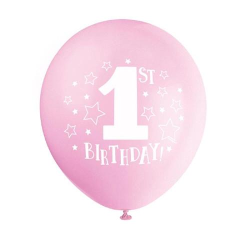"1st Birthday Pink Girl 8 pk 12"" Balloons Stars Printed"