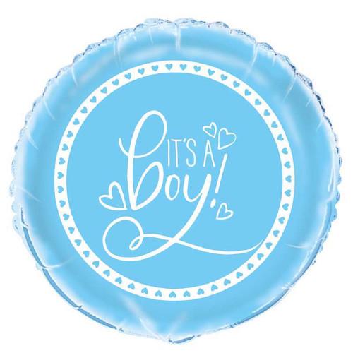 """It's A Boy Blue Foil Mylar 12"""" Balloon Hearts"""