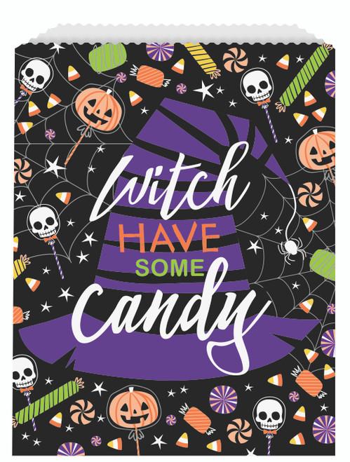 Skeleton Trick Treat Paper Halloween Goodie Bag  8 ct