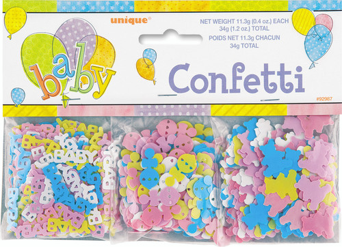 "Baby Shower Confetti 1.2 oz 3 Pk Teddy Bear, Rattle ""Baby"" Value Pack"