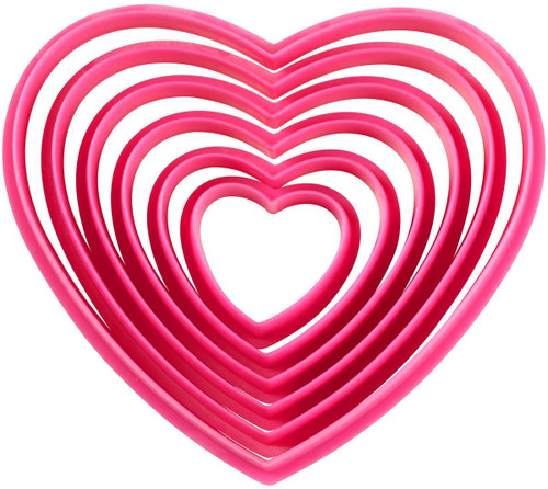 Wilton Nesting Heart Pink Plastic 6 Pc Cookie Cutters