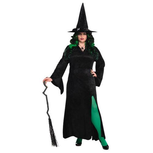 Witch Basic Black Long Dress Women Adult Plus XXL 18 - 20 Costume