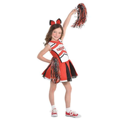 Cheerleader Girls Child Small 4-6 Costume Black Red