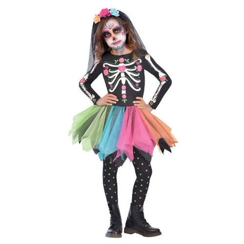 Sugar Skull Day of the Dead Costume Girls Large 12-14