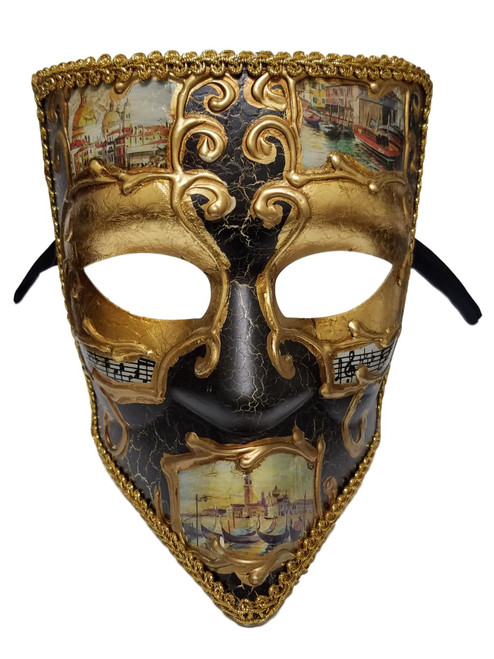 Black Gold Bauta Aged Venetian Mardi Gras Men's Masquerade Square Mask