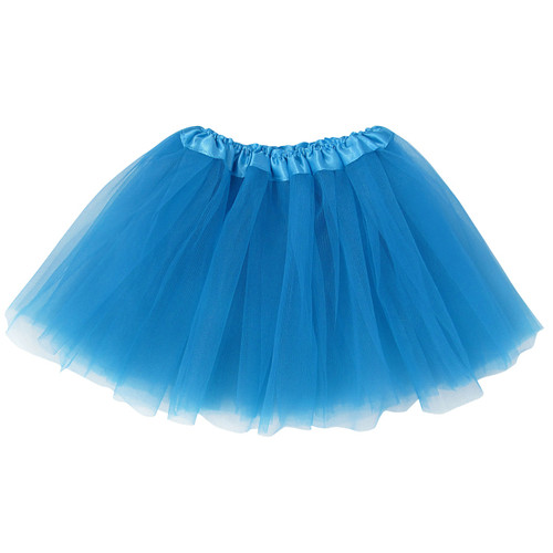Girls Child Neon Blue Ballet Tutu 3 Layer Soft Tulle