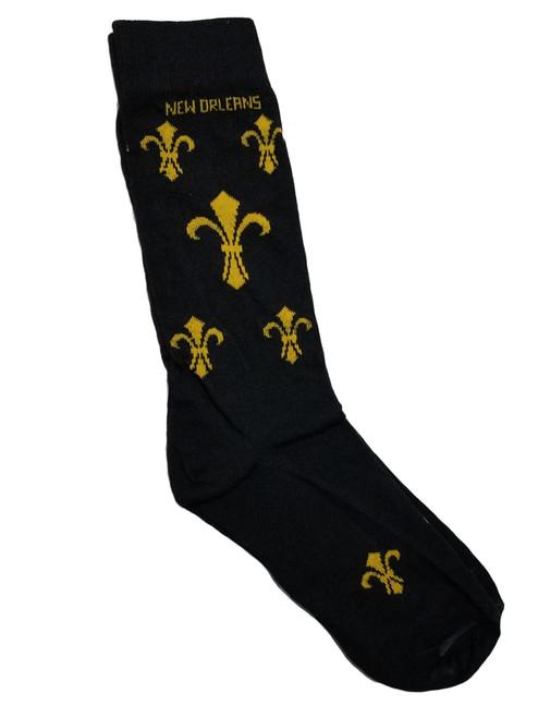 Fleur De Lis Black Gold Men's Long Socks One Size
