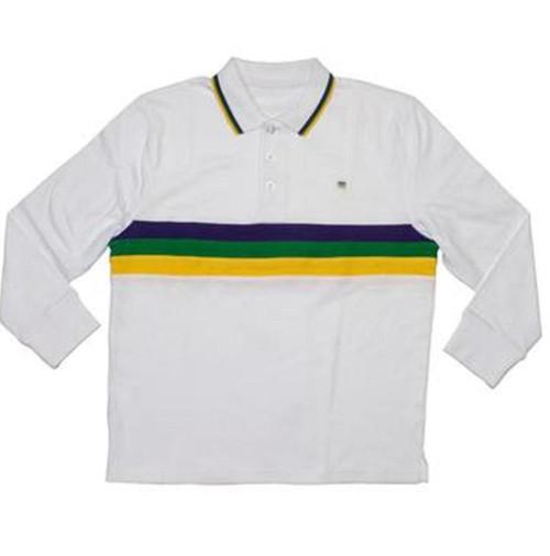 Child XSmall 3T Long Sleeve Mardi Gras White Purple Green Yellow Shirt