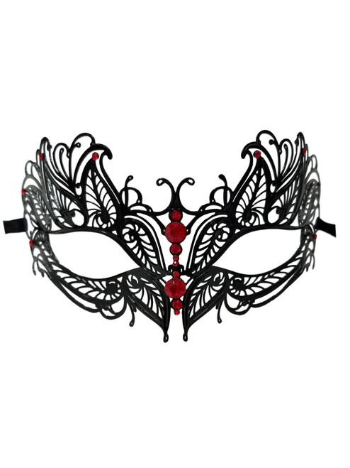 Black Red Crystal Butterfly Eyes Metal Laser Filigree Masquerade Mask