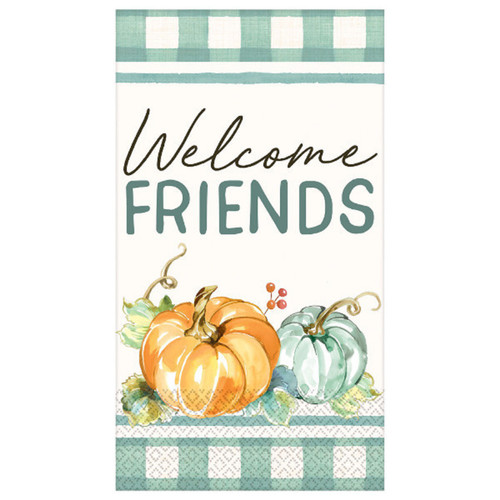 Muted Autumn Welcome Friends 16 ct Guest Napkins Thanksgiving Green Plaid