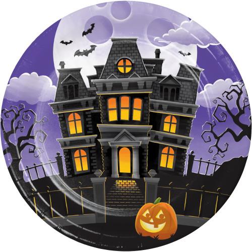 "Haunted Mansion Jack O'Lantern 8 Ct 9"" Lunch Dinner Plates Halloween"