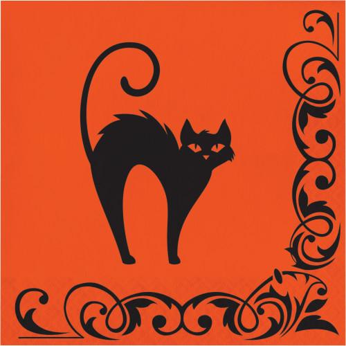 Scared Black Cat Halloween Symbols 16 Ct Lunch Napkins